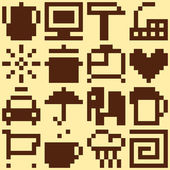 Set of pixel objects. Vector pattern — Stock Vector