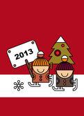 Noel kartı tasarımı — Stok Vektör