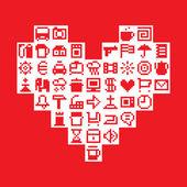 Pixel heart. Vector illustration — Stock Vector