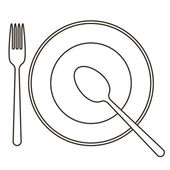 Place setting with plate, spoon and fork — Stock Vector