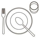 Couvert met plaat, lepel, vork en glas — Stockvector