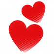Valentine red hearts isolated on white background — Stock Vector