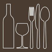 Bottle, wineglass, fork, knife and spoon — Stock Vector