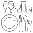 Plate, knife, fork, spoon and drinking glasses — Stock Vector