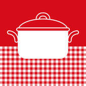 Cooking pot on red and white tablecloth background — Vettoriale Stock
