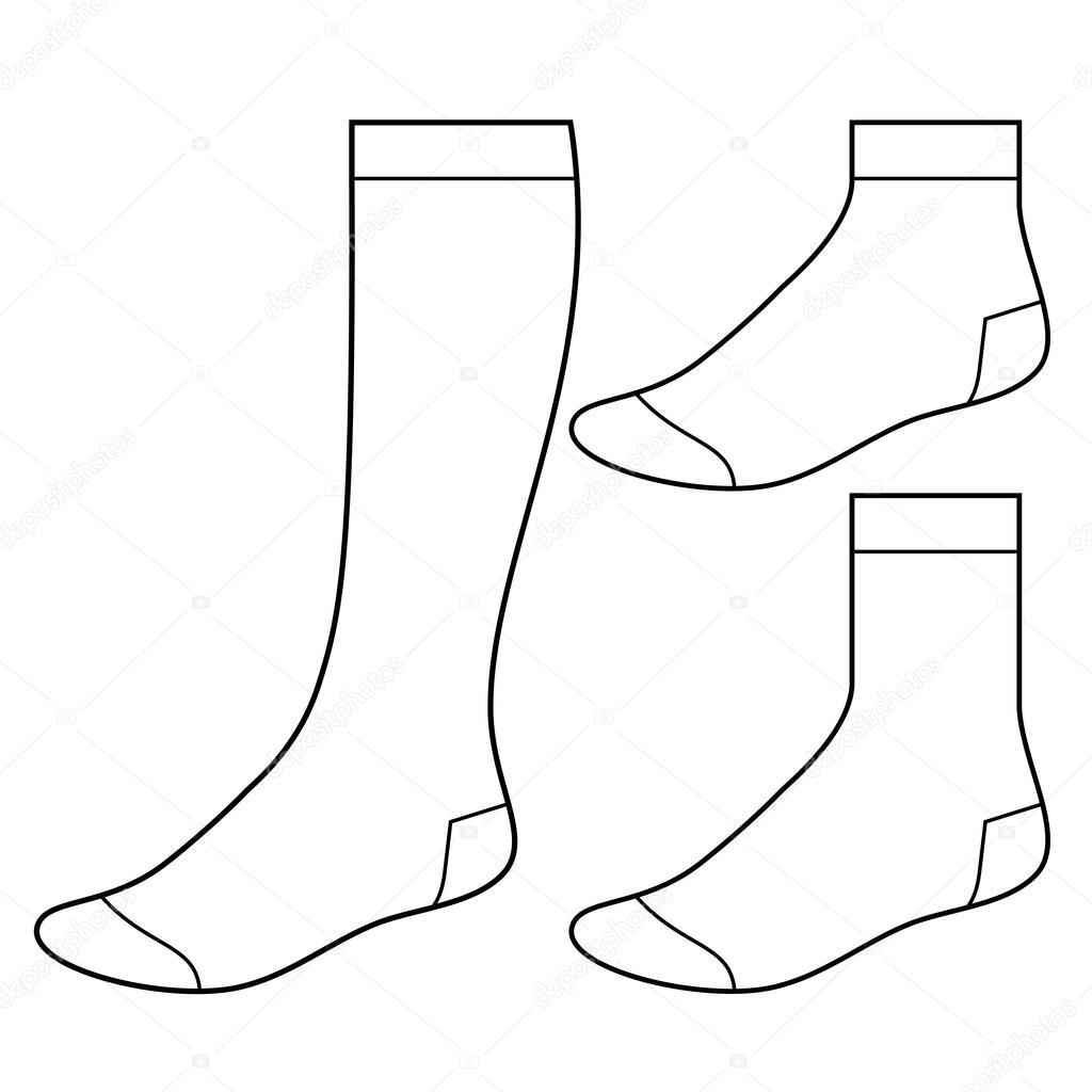 Sock Template Illustrator Set of blank socks - stock