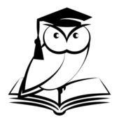 Owl with college hat and book — Stock Vector