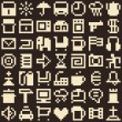 Set of pixel objects. Seamless background — Imagens vectoriais em stock