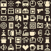 Set of pixel objects. Seamless background — Stockvektor