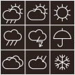 Weather signs in black and white — Stock Vector
