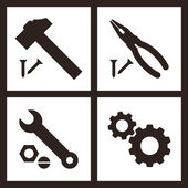 Pliers, hammer, wrench and gears icons — Stock Vector