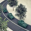 Royalty-Free Stock Photo: Tanks along a road