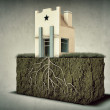 Stock Photo: Small house with big roots