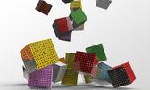 Cubes falling — Stock Photo