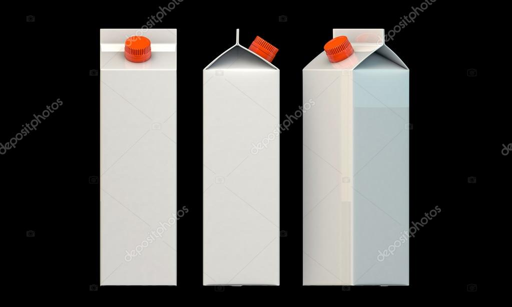 Milk package isolated on black background — Photo #14127842
