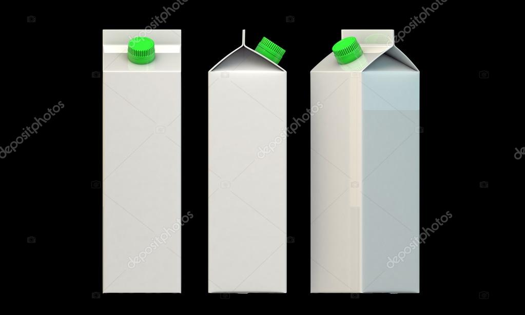 Milk package with green cap isolated on black background — Stock Photo #14127858