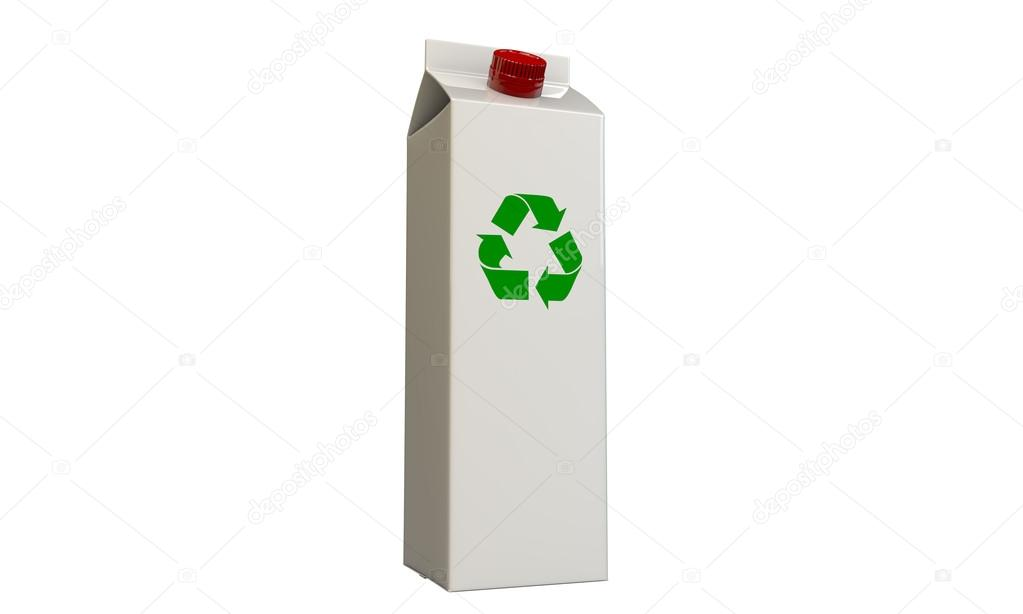 Milk package with recycle symbol isolated on white background — Stok fotoğraf #14127904