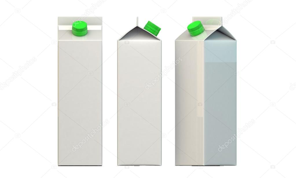 Milk package with green cap isolated on white background  Foto Stock #14127919