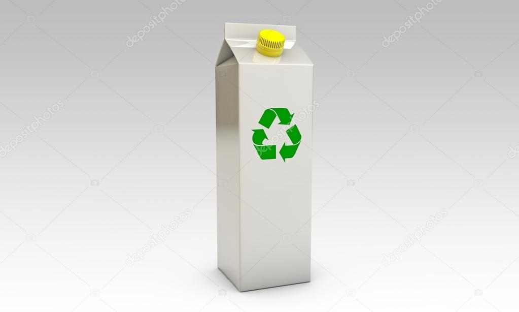 Milk packages with yellow cap and recycle symbol isolated on black background — Photo #14127977
