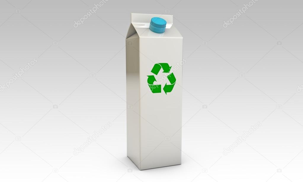 Milk packages with blue cap and recycle symbol isolated on black background — Stok fotoğraf #14127986