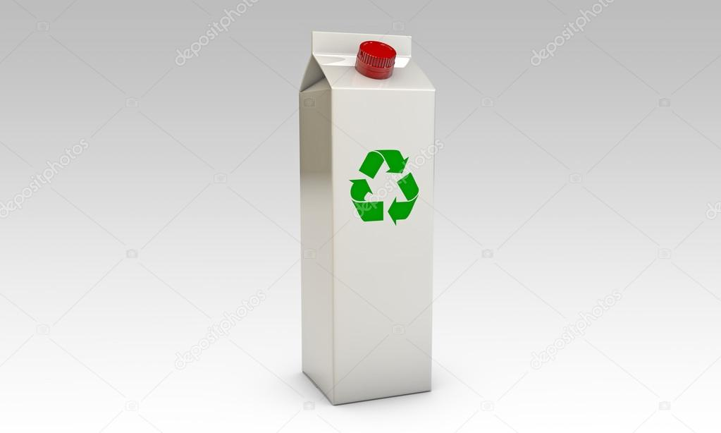 Milk packages with red cap and recycle symbol isolated on black background — Photo #14127988