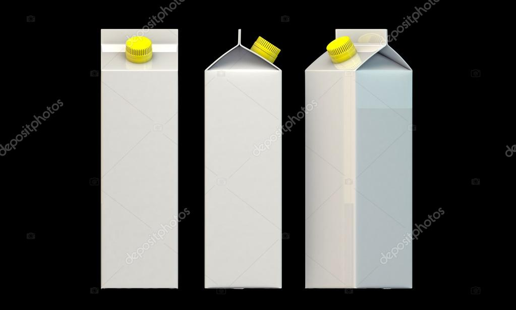 Milk package with yellow cap isolated on black background — Stock Photo #14128035