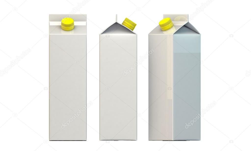 Milk package with yellow cap isolated on white background — Stock Photo #14128058