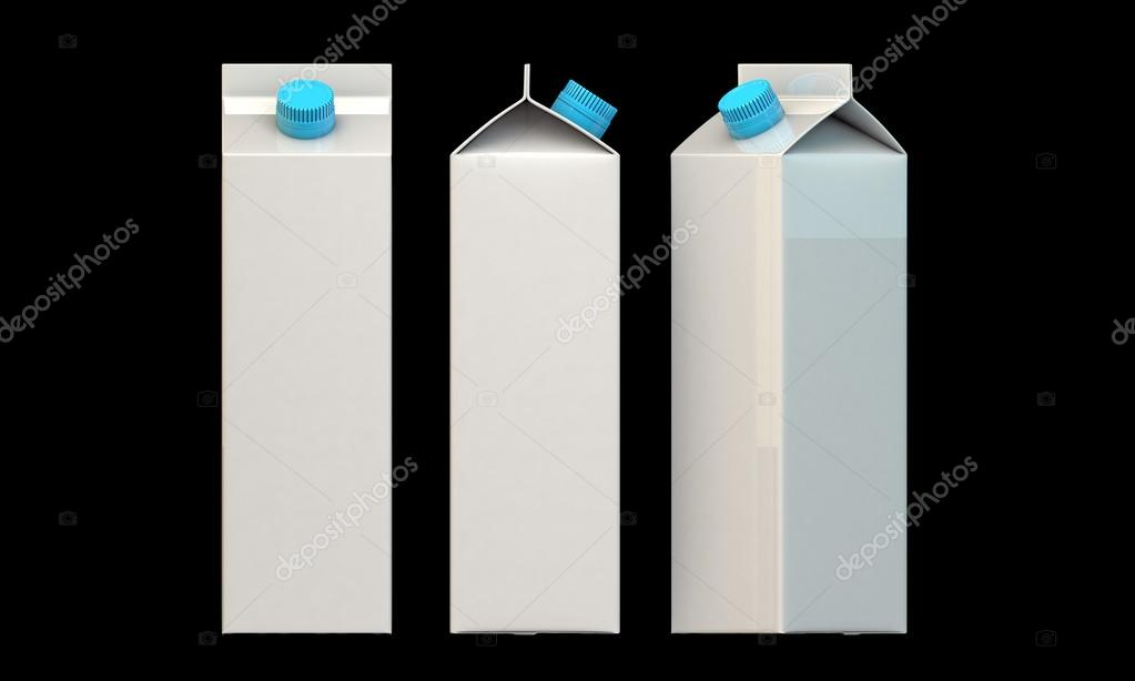 Milk packages with blue cap isolated on black background — Photo #14128127