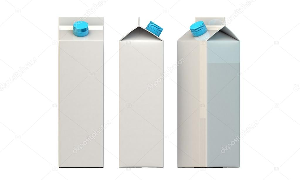 Milk packages with blue cap isolated on white background — Stock Photo #14128204