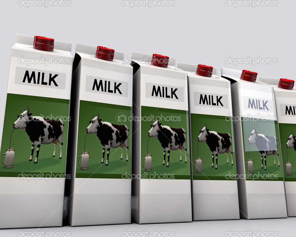 Milk packages isolated on white background  Stock Photo #14128366