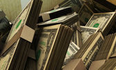 Dollars in a box — Stock Photo