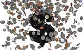 Falling coins — Stock Photo