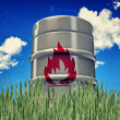 Barrel with flame sign — Stock Photo