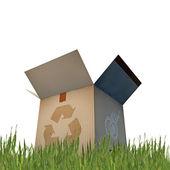 Kartonnen doos met recycle teken — Stockfoto