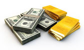 Dollars stak and many gold ingots — Stock Photo