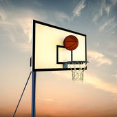Ball bouncing on a basketball backboard — Stock Photo