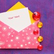 Beautiful envelope with a note — Stock Photo