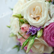 Bouquet of bride and rings — Stock Photo #22986962