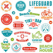Beach badges and emblems — Vector de stock