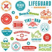 Emblemi e distintivi di spiaggia — Vettoriale Stock
