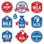 Rótulos de leite — Vetorial Stock