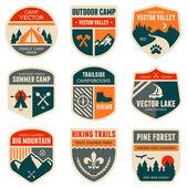 Retro emblemas de acampamento — Vetorial Stock
