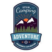 Camping adventure badge emblem — Stock Vector