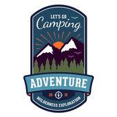 Camping adventure badge emblem — Stock Vector
