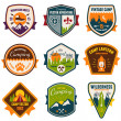 Vintage summer camp and outdoor badges — Stock Vector #41267955