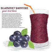 Blueberry smoothie — Stock Vector