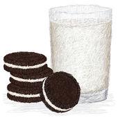 Milk and cookies — Stock Vector