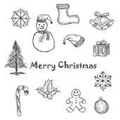 クリスマスのアイコンと黒 — ストックベクタ
