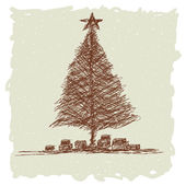 Christmas tree vintage — Stock Vector