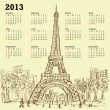 Eifel tower calendar 2013 — Stockvectorbeeld